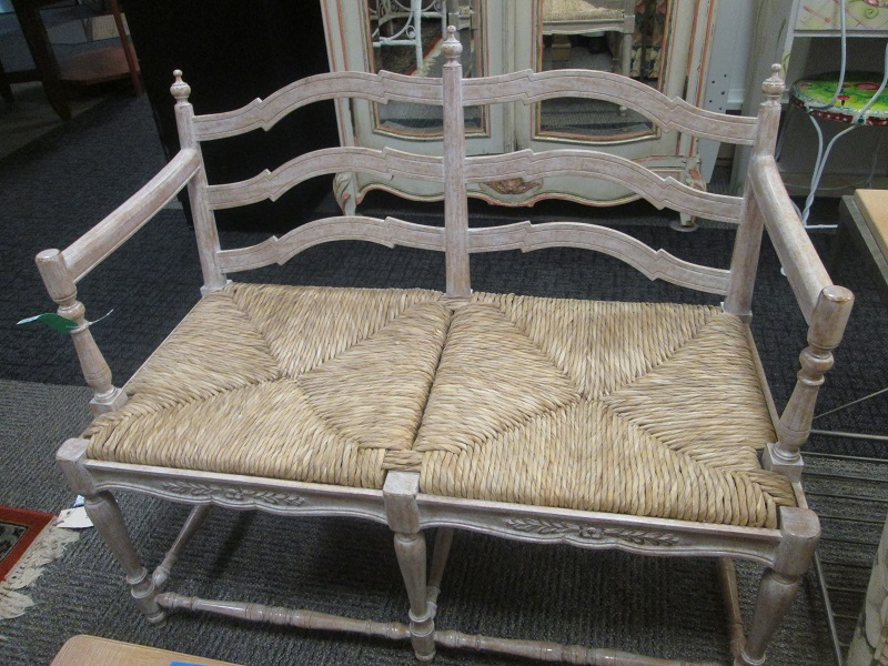 Two Seat Wood And Wicker Seat Bench