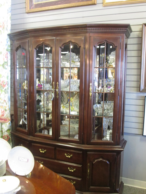 Large Mahogany Lighted China Cabinet