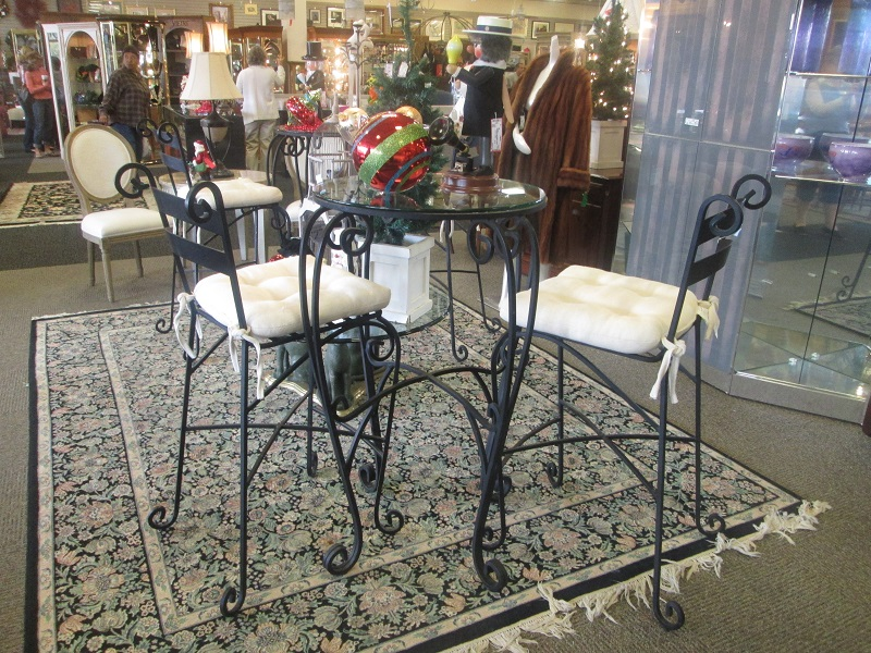 Black Metal And Glass Bistro Table And Two Chairs
